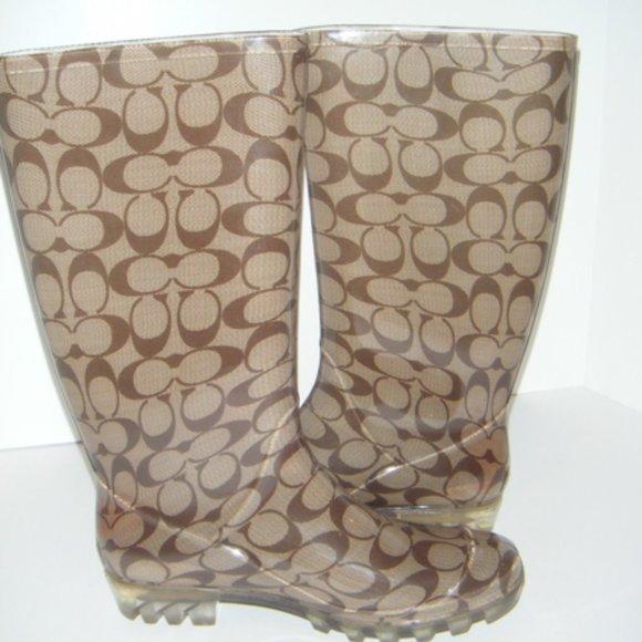 ❤SALE COACH Pixy Signature Rain Boots NEW NIB 11